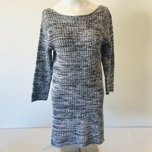 Jeanne Pierre Tunic Knitted Sweater Dress Gray